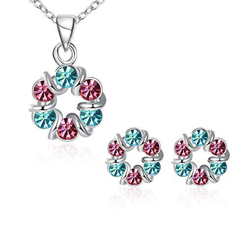 Thumby Dames Klassieke Kristallen Plant Ketting Oorbellen Set Mode K Goud Set Krans Diamant Tweedelige Set Oorbellen Ketting Set Vrouwen, Platina & veelkleurig