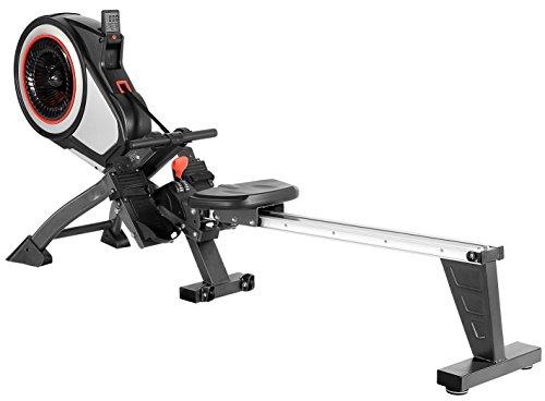 SportPlus Rudergerät mit Luftwiderstand (8 Stufen) - klappbar & mit Rollen, Rudermaschine für zuhause bis 150 kg, geprüfte Sicherheit, SP-MR-010