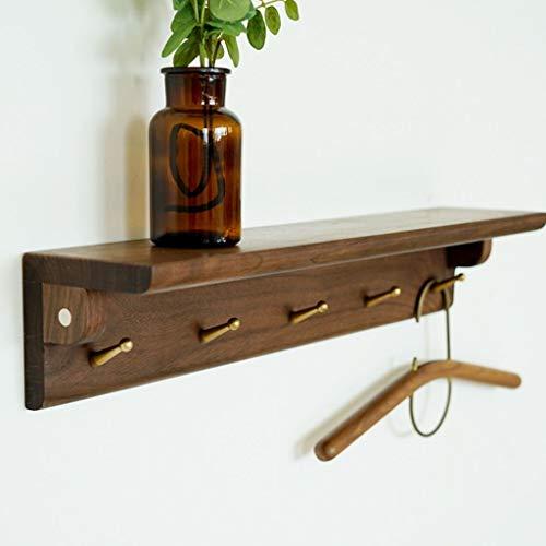 Lfixhssf mantel van massief hout, Scandinavisch, wandhouder, kledinghanger voor slaapkamer, garderobe, wandplank, Lfixhssf M Dark Wooden