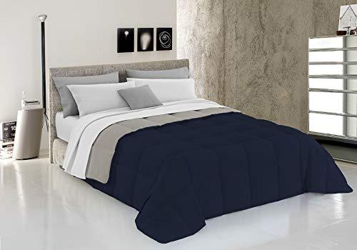 Italian Bed Linen Elegant Trapunta Invernale, Microfibra, Blu Scuro/Grigio Chiaro, Matrimoniale, 260 x 260 cm