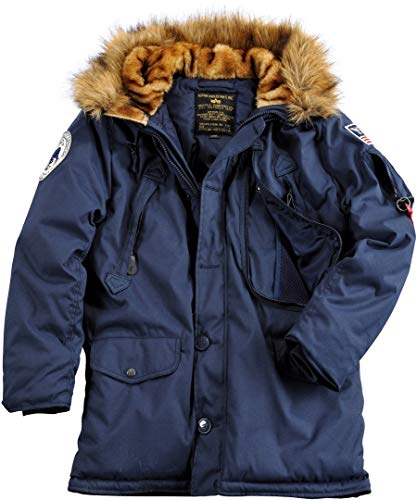 Alpha Industries Herren Parkas POLAR JACKET Winterjacke- Gr. S, Blau