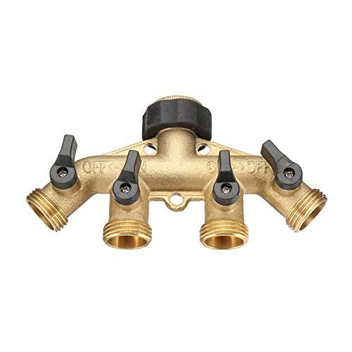 Válvula de marcador de pintura de acción 3/4 pulgada BSP 4 Way Brass Shut grifo de la manguera del colector de agua Segregator Jardín Tap Conector Divisor de control de la válvula de Conmutación Off a