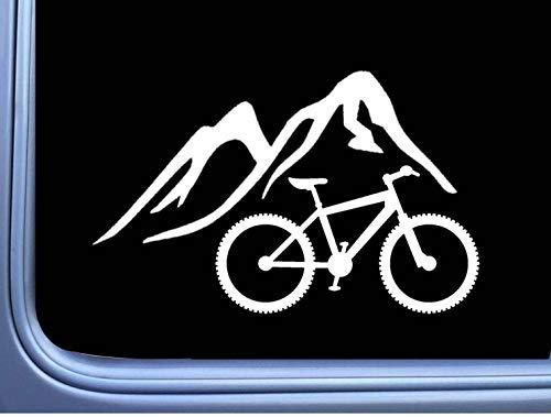 SUPERSTICKI Berge mit Mountainbike 20cm Aufkleber,Autoaufkleber,Sticker,Decal,Wandtattoo, aus Hochleistungsfolie,UV&waschanlagenfest,
