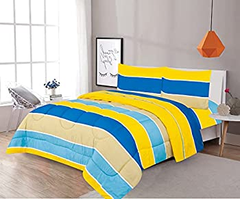 Sapphire Home 3 Piece Full Size Comforter Set Bed in Bag with Shams Blue Yellow Stripes Print Multicolor Boys Kids Girls Teens Bedding  3pc Blue/Yellow
