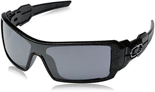 Oakley Men's OO9081 Oil Rig Shield Sunglasses, Pol Blk & Silver Ghost T/Black Iridium, 28 mm