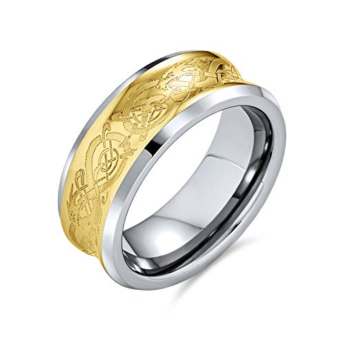 Bling Jewelry Celtic Dragon concava di tungsteno Anello Nuziale 9mm