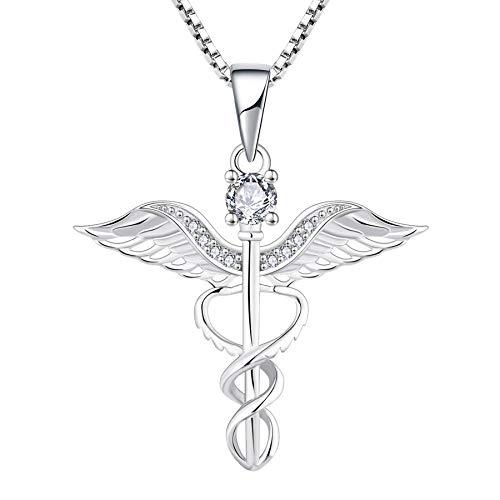 YL Collar de Enfermera Caduceo Plata de Ley 925 con alas de ángel Colgantes de Collar de Serpiente Regalo para el doctor enfermera