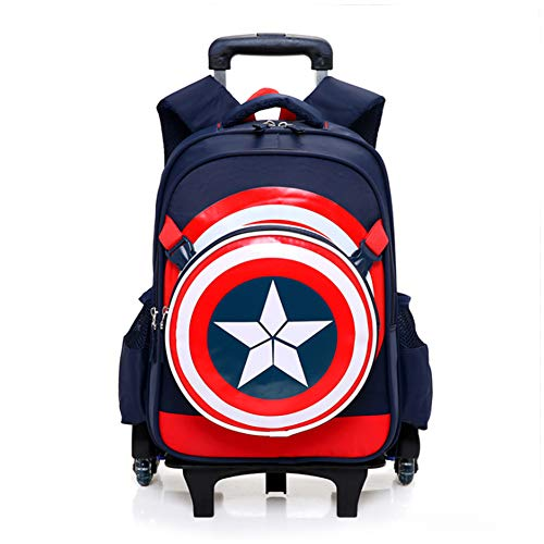 Spiderman Six Wheels Trolley Case School Bags Boy Oxford Cloth Vacation Backpack