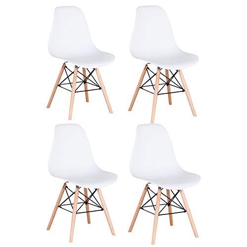 Pack 4/6 sillas de Comedor Silla diseño nórdico Retro Estilo (4 sillas-Blanco)