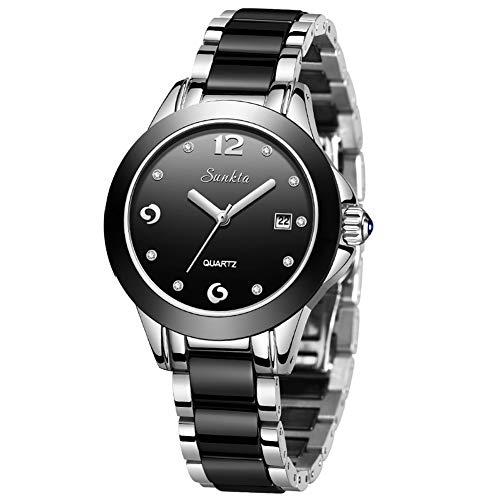 LIGE Relojes Mujer Negro Acero Inoxidable Correa Negocios Relojes de Moda para Señoras Informal Muñeca Cuarzo