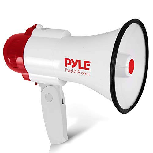 Pyle Megaphone Speaker PA Bullhorn - with Built-in Siren 30 Watt Voice Recorder & 800 Yard Range - Ideal for Football, Soccer, Baseball, Hockey, Basketball, Cheerleading Fans & Coaches - PMP35R