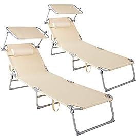 TecTake 800773 Lot de 2 Chaises Longues de Jardin Pliables, Transat avec Pare Soleil et Appuie Tête, Charge Max: 110 kg…
