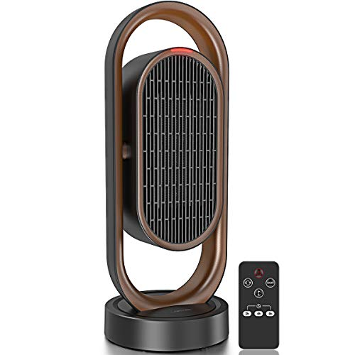 LOFTer Space Heater, Electric Heater with Auto Oscillation , Small Desktop Heating Fan with 2H/4H/8H Programmable Timer, 9.5W/1100W/1500W Rapid Heater Air Conditioner Heater & Fan for Office Home