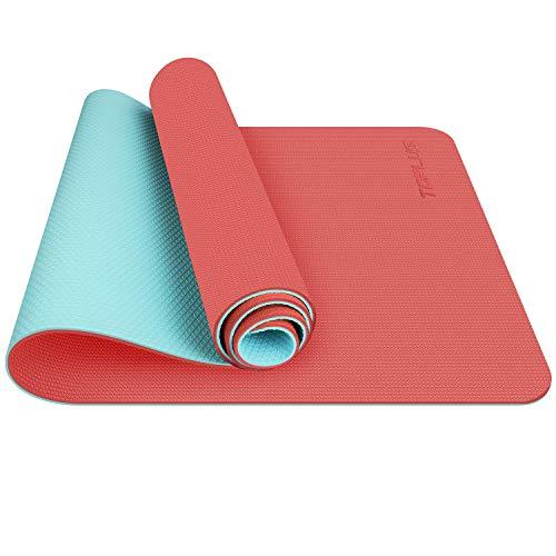 TOPLUS Esterilla Yoga Antideslizante Alfombrilla de Yoga Esterilla Pilates Esterilla Deporte- con Correa de Hombro 183cm x 61cm (Naranja y Color Menta)