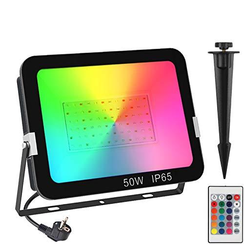 RGB LED Strahler 50W, NATPOW RGB Fluter LED Gartenstrahler RGB LED Strahler Fluter mit Farbwechsel Fernbedienung 16 Farben und 4 Modi IP65 Wasserdicht für Party Außen