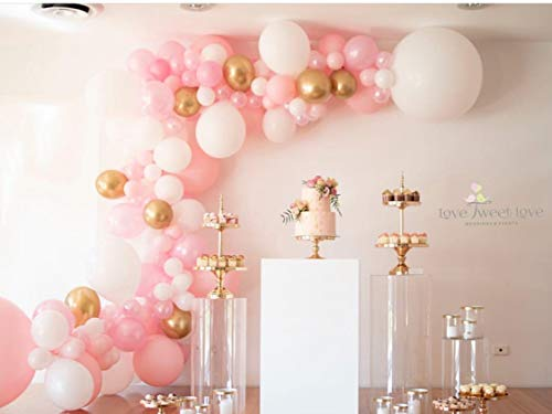 Balloon Garland Arch Kit 16Ft Long 112pcs Pink White Gold Balloons Pack for Girl Birthday Baby Shower Bachelorette Party Centerpiece Backdrop Background Decorations