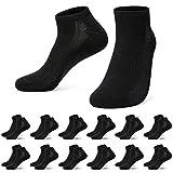 TUUHAW 12 Paar Sneaker Socken Damen Kurze Halbsocken Herren Sportsocken Männer Baumwolle Schwarz 35-38