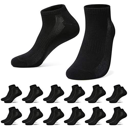 TUUHAW Sneaker Socken Herren Damen Schwarz 39-42(12x Paar) Sportsocken Halbsocken Kurze Baumwolle
