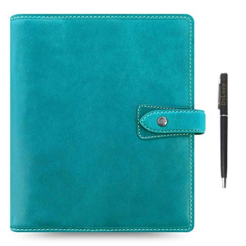 "Filofax Malden Leather Organizer Agenda Calendar Bundle with DiLoro Ballpoint Pen (Kingfisher 2020-2021 with Pen, A5 Paper Size 8.26"" x 5.82"")"