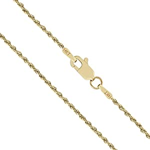 14K Solid Yellow Gold Rope Chain Necklace