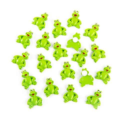 Logbuch-Verlag 20 kleine Mini Frösche mit Klebepunkt Streudeko Tischdeko Geschenkaufkleber Froschkönig Glücksbringer Frosch Deko zum Streuen