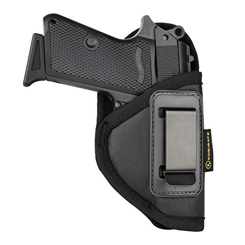 Kosibate S&W Bodyguard 380 Holster, IWB Holster PU Leather Concealed Carry Compatible with Ruger LCP II, Taurus TCP, Sig P238, Jimenez JA, PPK .380(Black)