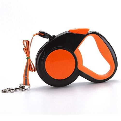 Correa de Perro retráctil sin enredos de 5 m, Correa de Perro Extensible, Correa de Nailon Resistente, Adecuada para Perros de hasta 20 kg (Color : Orange)