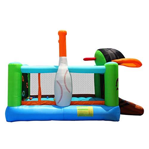 WRJY Bouncy Castle Outdoor Large Bouncing Bed Slide + Trampolín Adecuado para 4 niños (Color: Verde + Azul, Tamaño: 427 * 246 * 283CM)