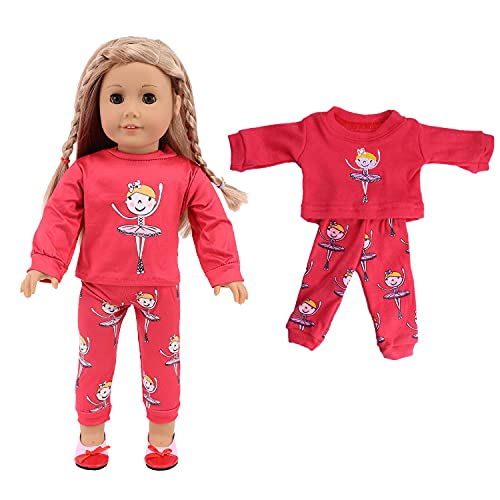 ELJRBCK 18Inch Doll Clothes for American Girl Dolls - Christmas Pajamas Girls Tree Jammies Children PJs Gift Set for Dolls, and Our Generation Dolls (Red)