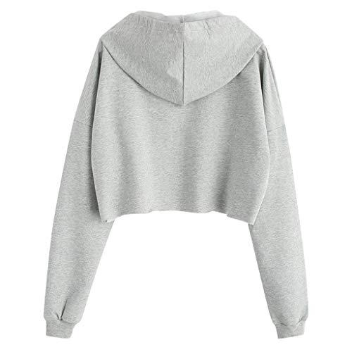 Longra sweatshirt vrouwen lumbale wervelkolom, charmant, kort, schattig, planet, bedrukt, T-shirt, lange mouwen, tassen, hooded top blouse, trui