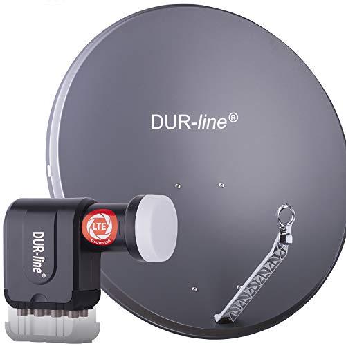 DUR-line 8 Teilnehmer Set - Qualitäts-Alu-Satelliten-Komplettanlage - Select 85cm/90cm Spiegel/Schüssel Anthrazit + Octo LNB - für 8 Receiver/TV [Neuste Technik, DVB-S2, 4K, 3D]