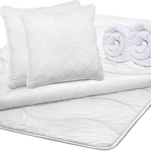 Bettdecke 135x200 cm 4 Jahreszeiten - Steppdecke inkl. Kopfkissen - Öko-Tex 100 Zertifiziert - Ganzjahresdecke für Allergiker geeignet, 6-TLG.