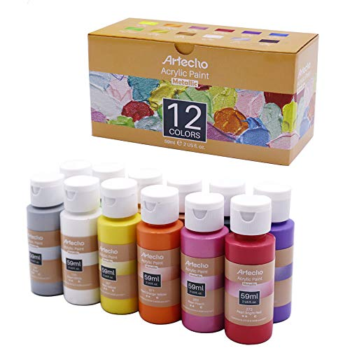 Artecho Acrylic Paint Metallic Acrylic Paint Set for Art, 12 Colors 2 Ounce/59ml Metallic Acrylic Paint Supplies for Wood, Fabric, Crafts, Canvas, Leather&Stone