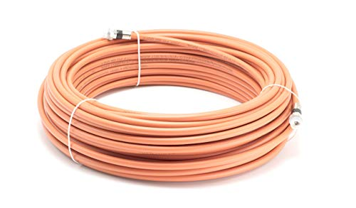 150 Feet Direct Burial Coaxial Cable RG6 Coax Cable Rubber Boot - Outdoor Connectors - (Orange) - Designed for Waterproof and to Be Buried
