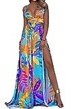 Vakkest Women Summer V Neck Maxi Dress Side Slit Spaghetti Straps Strapless Boho Long Dress