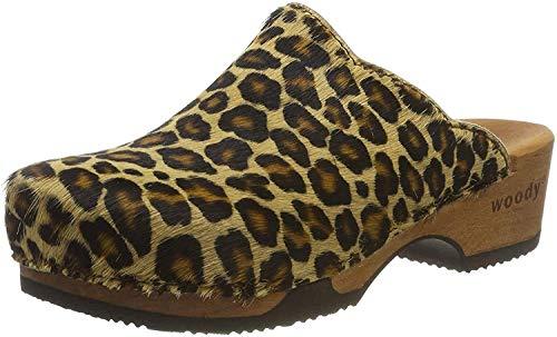 Woody Damen Emma Clogs, Mehrfarbig (Leopard 078), 39 EU