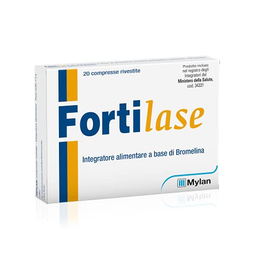Fortilase Integratore alimentare a base di bromelina, enzima proteolitico contenuto nell'estratto vegetale del gambo di ananas, con proprietà antinfiammatorie e anti-edema, 20 compresse