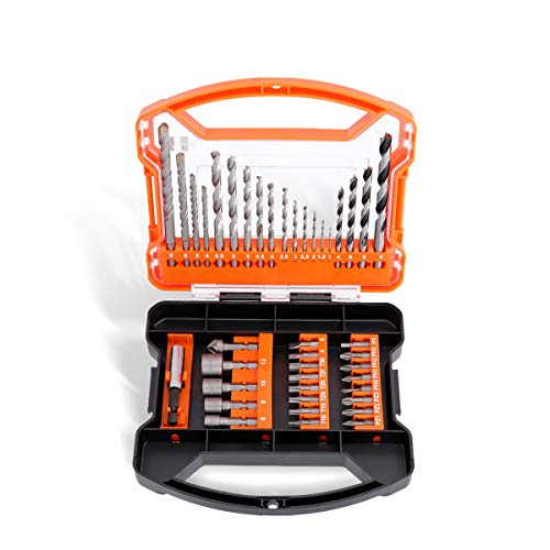 WELLCUT 41-Piece Durable HSS Screwdriver & Drill Bit Set (Masonry, Metal, Wood, Accessories for Drills) in a Portable Case for DIY Projects Repair and Maintenance