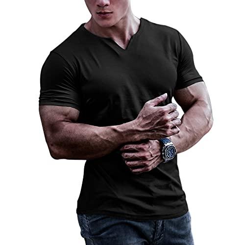 Muscle Alive Hombre Camisetas atléticas de Culturismo para de Secado rápido para músculos Gimnasio Entrenamiento Tops Negro XL