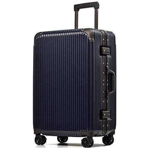 [PROEVO/プロエボ] スーツケース フレームキャリー 受託手荷物 M L LL 静音 ダブルキャスター 8輪 大容量 軽量 アルミフレーム TSAロック キャリーケース キャリーバッグ (ネイビー×デニム(mat)【Lサイズ】)