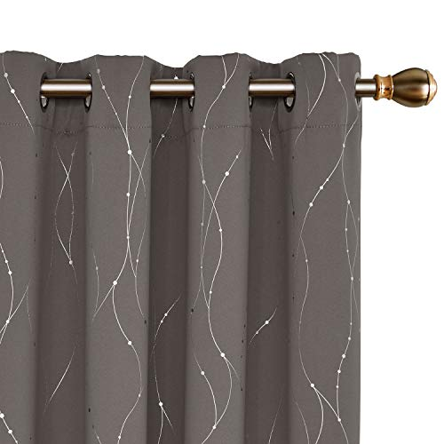 Deconovo Blackout Curtains Wave Line with Dots Foil Print Design Curtains Window Curtains with Grommet for Living Room 52 x 84 Inch Taupe 2 Panels