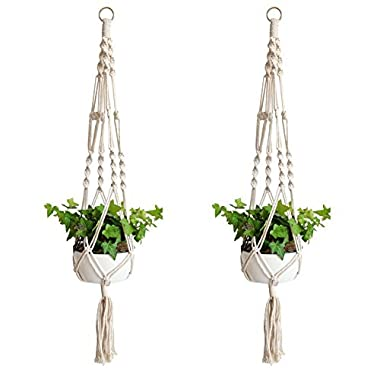 Accmor Macrame Plant Hanger Set of 2, 39 inch Handmade Cotton Plant Hanger for Gift Round & Square Pots(Pot Not Included)