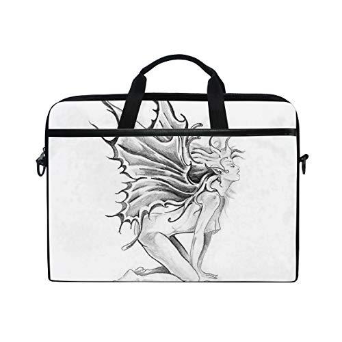VICAFUCI New 15-15.4 Zoll Laptop Tasche,Umhängetasche,Handtasche,Tätowierungs-künstlerische Bleistift-Zeichnungs-Grafik-Druck-nackte Fee, die Seine Engels-Flügel Schwarzweiss öffnet