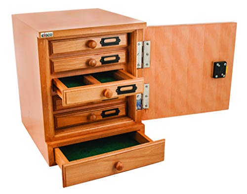 Eisco Labs Premium Wooden Slide Cabinet, 10 Drawer - 1000 Slide Capacity