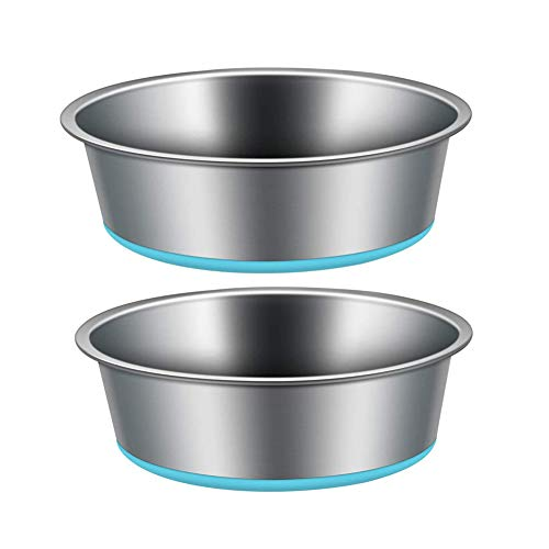 Pet Food Bowl 2 x 1750mlStainless Steel Large Dog Bowl Cat Water Bowls Heavyweight with Non-Skid Rubber Bottom (Silver+Blue)