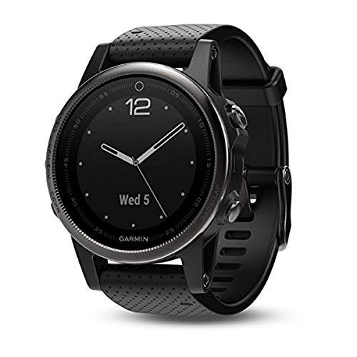 Garmin fenix 5s, Premium and Rugged Smaller-Sized Multisport GPS Smartwatch, Sapphire Glass, Black, (Renewed)