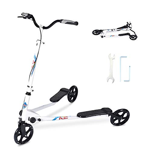 SANSIRP Swing Scooter 3 Wheel Foldable Scooter, 3-Level Adjustable Height Handle Swing Foldable Push Drifting for Girls/Boys/Adult Age 8 Years Old and Up