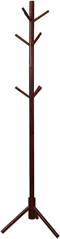 LXF Coat Rack Pine Wood Floor Coat Rack Tree-Shaped Bedroom Clothes Rack 9 Hook Triangle Bracket Freely Placed Four colors Optional 45  175CM (color   Dark Brown)