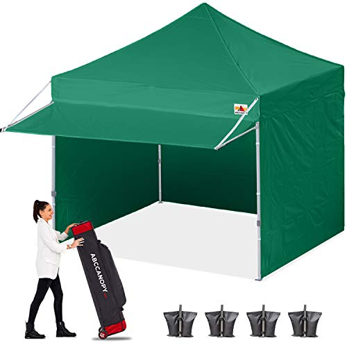 ABCCANOPY Ez Pop up Canopy Tent with Awning and Sidewalls 10x10 Market -Series, Forest Green