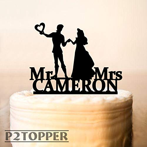 Princess And Prince Cake Topper,Wedding Cake Topper,Once Upon A Dream Cake Topper,Custom Cake Topper,Personalized Cake Topper,unique